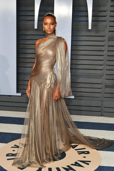 Jasmine Tookes Sheer Dress [oscar party,vanity fair,fashion model,clothing,fashion,dress,gown,haute couture,shoulder,fashion design,beauty,hairstyle,beverly hills,california,wallis annenberg center for the performing arts,radhika jones - arrivals,radhika jones,jasmine tookes]