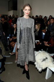 Jaime King worked a swingy mixed-plaid dress by Jason Wu during the label's fashion show.