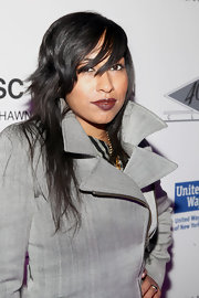 Melanie Fiona wore a rich burgundy-infused brown lipstick at a Jay-Z concert benefiting the United Way.