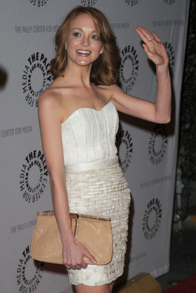 Jayma Mays Leather Clutch [glee,clothing,dress,shoulder,cocktail dress,strapless dress,hairstyle,fashion,fashion model,premiere,joint,jayma mays,paleyfest presents ``glee,beverly hills,california,saban theatre,event,27th annual paleyfest]