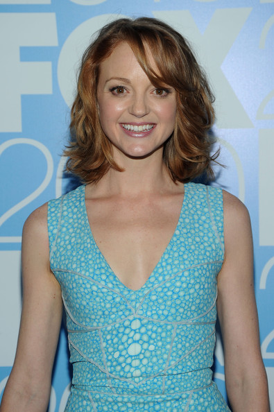 Jayma Mays Medium Wavy Cut [hair,hairstyle,clothing,cocktail dress,blond,turquoise,premiere,dress,neck,shoulder,jayma mays,wollman rink,new york city,central park,fox,party]