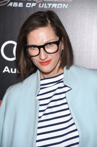 Jenna Lyons Bob [avengers: age of ultron,eyewear,hair,glasses,hairstyle,eyebrow,lip,vision care,forehead,long hair,outerwear,arrivals,jenna lyons,screening,sva theater,new york city,cinema society audi host a screening of marvel,the cinema society audi]