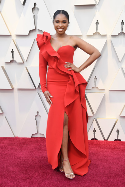 Jennifer Hudson One Shoulder Dress [red carpet,dress,clothing,fashion model,red,shoulder,carpet,gown,flooring,fashion,arrivals,jennifer hudson,academy awards,hollywood,highland,california,annual academy awards]