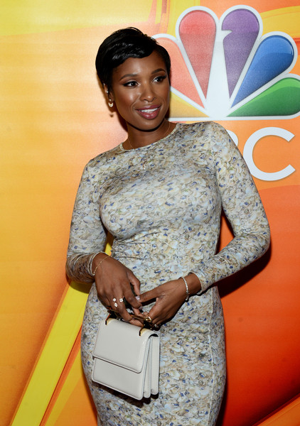 Jennifer Hudson Leather Purse [yellow,fashion,dress,fashion design,photography,formal wear,fashion accessory,flooring,style,arrivals,jennifer hudson,musician,press,beverly hills,california,tour - nbcuniversal,summer tca,press tour,summer tca tour]