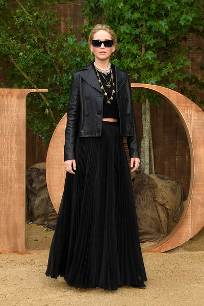 Jennifer Lawrence Leather Jacket [clothing,fashion,lady,dress,outerwear,gown,victorian fashion,formal wear,haute couture,gothic fashion,christian dior,jennifer lawrence,part,summer 2020,paris,france,christian dior womenswear spring,photocall - paris fashion week,show,paris fashion week]