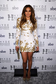 Jennifer Lopez completed her look for the release of her new single 'Goin' In' wearing a glittery pair of gold pumps.