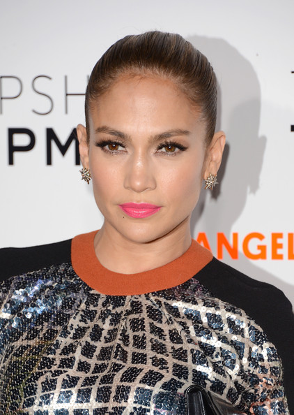 Jennifer Lopez Gold Studs [hair,face,hairstyle,lip,eyebrow,beauty,shoulder,fashion,chin,cheek,jennifer lopez,arrivals,california,los angeles,west hollywood,topshop,cecconi,topman,la opening party,topman la opening party]