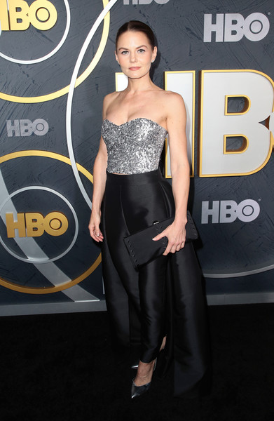 Jennifer Morrison Tube Top [clothing,dress,shoulder,strapless dress,premiere,fashion,hairstyle,carpet,fashion model,joint,arrivals,jennifer morrison,post emmy awards,the plaza,los angeles,california,pacific design center,hbo,reception,post emmy awards reception]