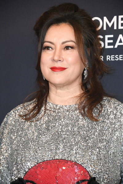 Jennifer Tilly Half Up Half Down [hair,lip,hairstyle,beauty,lady,chin,premiere,event,black hair,smile,arrivals,jennifer tilly,beverly hills,california,beverly wilshire four seasons hotel,wcrf,an unforgettable evening]
