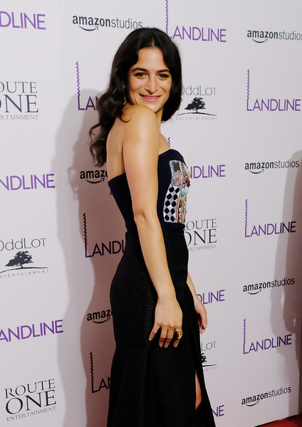 Jenny Slate Wide Band Ring [clothing,dress,shoulder,fashion,hairstyle,cocktail dress,premiere,little black dress,leg,long hair,jenny slate,landline,new york,the metrograph,premiere,new york premiere]