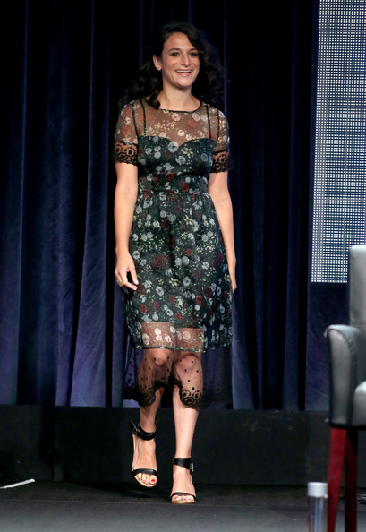 Jenny Slate Print Dress [fashion model,fashion,clothing,fashion show,dress,fashion design,shoulder,runway,event,footwear,jenny slate,beverly hills,california,the beverly hilton hotel,fx networks,summer television critics association,summer tca tour,portion,panel]