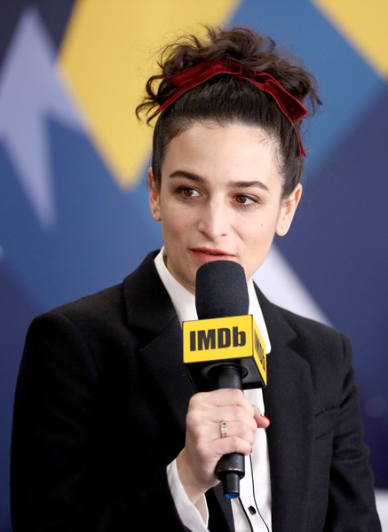 Jenny Slate Messy Updo [microphone,audio equipment,yellow,chin,spokesperson,forehead,white-collar worker,technology,electronic device,interview,jenny slate,location,acura festival village,park city,utah,imdb studio at acura festival village on location,the imdb studio,sundance film festival,the sunlit night]