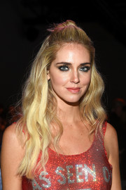 Chiara Ferragni looked sweet and pretty with her half-up waves at the Jeremy Scott fashion show.