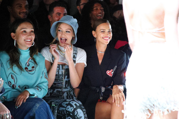 More Pics of Gigi Hadid Wide Band Ring (1 of 22) - Decorative Rings Lookbook - StyleBistro [shows,people,youth,event,fun,friendship,fashion,human,smile,party,crowd,jeremy scott,irina shayk,gigi hadid,front row,front row,new york city,l,spring studios,new york fashion week]
