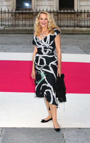 Jerry Hall Print Dress [clothing,dress,fashion model,fashion,leg,footwear,shoulder,street fashion,lady,blond,jerry hall,private view,vip view,england,london,vip,royal academy of arts,royal academy summer exhibition]