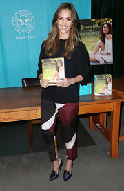 Jessica Alba opted for these cool and modern print pants for her book signing appearance in California.