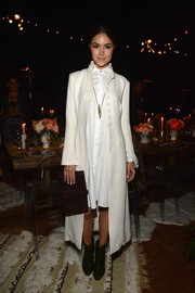 Olivia Culpo went for vintage appeal in a Victorian-style coat during the launch of the #letsbehonest campaign.