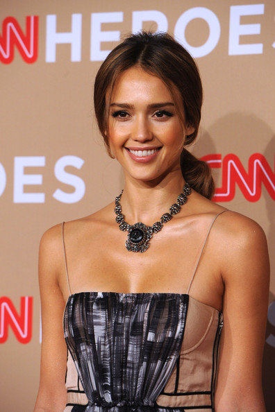 Jessica Alba Silver Statement Necklace