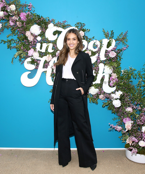 Jessica Alba Pantsuit [blue,clothing,pantsuit,spring,formal wear,suit,fashion,outerwear,flower,plant,jessica alba,los angeles,rolling greens nursery,california,health summit]