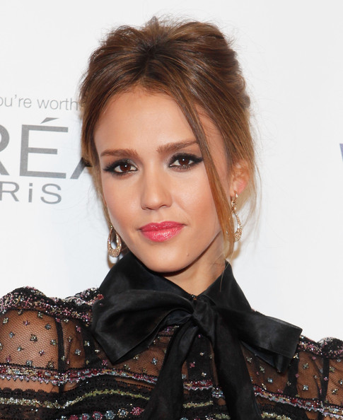 Jessica Alba Updos Messy Updo Nuj
