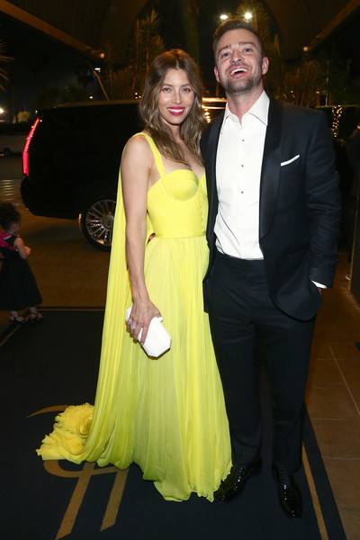 Jessica Biel Corset Dress [yellow,beauty,formal wear,dress,lady,fashion,flooring,smile,girl,event,michael che,colin jost,justin timberlake,jessica biel,google pixel,hollywood roosevelt hotel,california,google,emmys after party]
