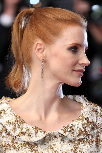 Jessica Chastain Dangling Diamond Earrings [the fade,red carpet arrivals - the 70th annual cannes film festival,cannes film festival at palais des festivals on may 26,hair,hairstyle,ear,eyebrow,chin,blond,beauty,chignon,long hair,fashion,jessica chastain,nichts,cannes,france]