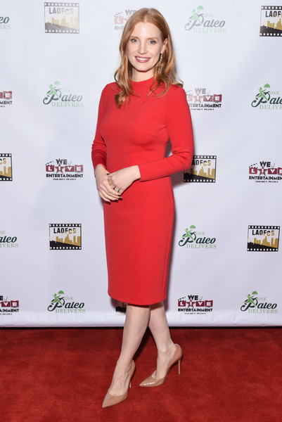 Jessica Chastain Midi Dress [clothing,red carpet,dress,red,carpet,cocktail dress,footwear,premiere,flooring,shoe,arrivals,online film critics society award ceremony - arrivals,jessica chastain,los angeles,california,taglyan complex,online film critics society award ceremony]