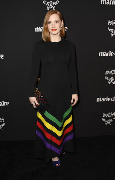 Jessica Chastain Print Dress [marie claire change makers celebration,jessica chastain,clothing,dress,fashion model,fashion,yellow,cocktail dress,sleeve,shoulder,neck,footwear,hills penthouse,west hollywood,california,arrivals]
