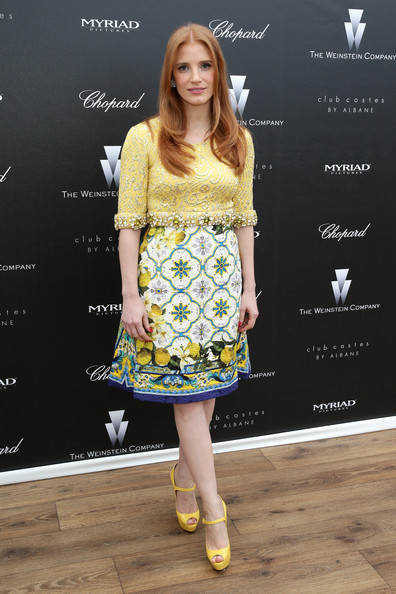 Jessica Chastain Print Dress [the disappearance of eleanor rigby,clothing,yellow,fashion model,fashion,dress,footwear,cocktail dress,hairstyle,electric blue,long hair,jessica chastain,costes,albane,costes jw marriott,jw marriott rooftop,myriad pictures,the weinstein company,chopard,cannes film festival pre-screening reception]