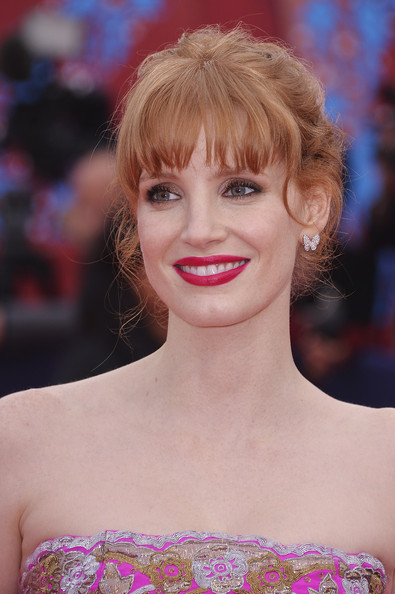 Jessica Chastain Diamond Studs [hair,face,hairstyle,blond,eyebrow,lip,chin,beauty,shoulder,bangs,deauville,france,deauville american film festival,opeing ceremony,ceremony,jessica chastain]