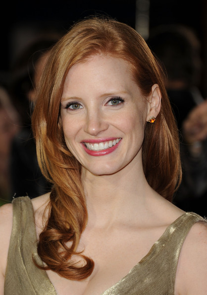 Jessica Chastain Gemstone Studs [i am number four,hair,face,hairstyle,eyebrow,lip,blond,beauty,skin,long hair,chin,jessica chastain,arrivals,california,village theatre,dreamworks pictures,westwood,premiere,premiere]