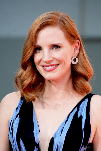Jessica Chastain Diamond Hoops [photo,hair,face,hairstyle,blond,beauty,smile,long hair,brown hair,layered hair,photography,jessica chastain,jessica chastain hand and footprint ceremony,california,hollywood,tcl chinese theatre,hand and footprint ceremony]