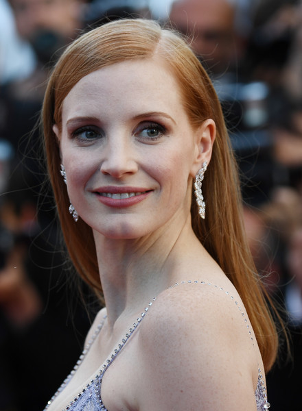 Jessica Chastain Long Straight Cut [film,feature film,hair,face,hairstyle,eyebrow,beauty,skin,blond,lip,long hair,smile,red carpet arrivals,jessica chastain,actress,member,okja,us,cannes film festival,screening]