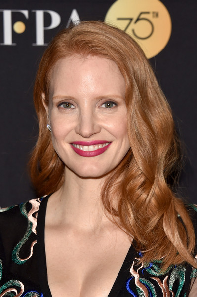 Jessica Chastain Long Wavy Cut [hair,face,hairstyle,blond,eyebrow,lip,beauty,brown hair,chin,skin,arrivals,jessica chastain,toronto,canada,windsor arms hotel,hfpa,instyle,toronto international film festival,instyle annual celebration,celebration]