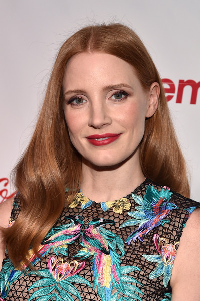 Jessica Chastain Long Wavy Cut [hair,face,hairstyle,lip,blond,eyebrow,beauty,brown hair,premiere,shoulder,jessica chastain,cinemacon big screen achievement awards,omnia nightclub,caesars palace,las vegas,nevada,coca-cola company,cinemacon 2017,convention]