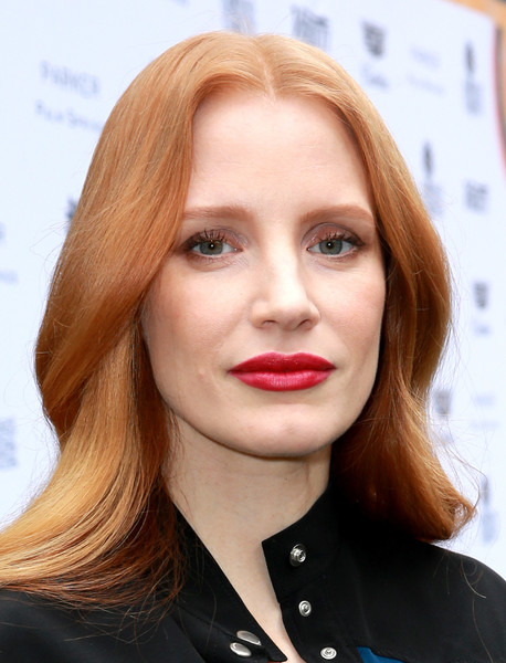 Jessica Chastain Red Lipstick [hair,face,lip,hairstyle,blond,eyebrow,chin,hair coloring,beauty,long hair,directors,jessica chastain,creative impact awards,parker palm springs,california,variety,brunch red carpet,palm springs international film festival]
