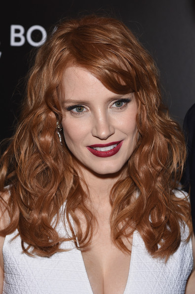 Jessica Chastain Red Lipstick [hair,face,hairstyle,lip,blond,brown hair,eyebrow,long hair,hair coloring,chin,new york city,cipriani 42nd street,national board of review gala,jessica chastain]