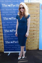 Jessica Chastain looked fetching in a short-sleeve blue dress as she gave a speech to students during the Cannes Film Festival.