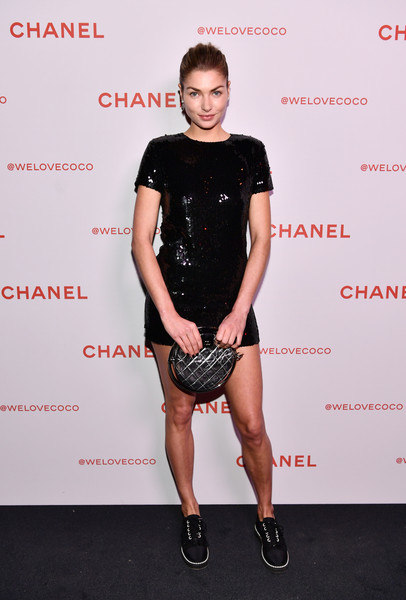 Jessica Hart Quilted Clutch [clothing,fashion,footwear,carpet,red carpet,muscle,dress,cocktail dress,style,shoe,jessica hart,@welovecoco,chanel beauty house,california,los angeles,chanel party]