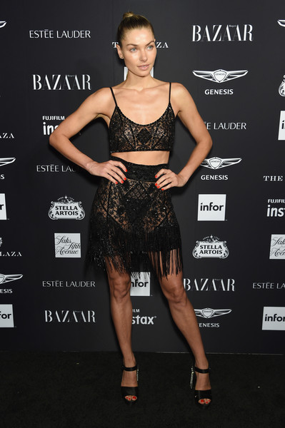 Jessica Hart Platform Sandals [clothing,dress,cocktail dress,shoulder,little black dress,fashion model,fashion,hairstyle,joint,carpet,carine roitfeld,estee lauder,stella artois - arrivals,icons,plaza hotel,harpers bazaar celebrates,saks fifth avenue,fujifilm instax,genesis,infor]