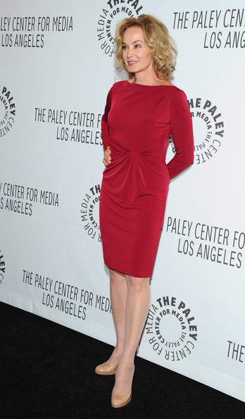 Jessica Lange Pumps [american horror story,dress,clothing,cocktail dress,shoulder,red,hairstyle,neck,joint,fashion model,sleeve,jessica lange,beverly hills,california,saban theatre,paley center for media,paleyfest 2012]