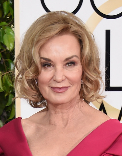 Jessica Lange Curled Out Bob [hair,face,blond,hairstyle,eyebrow,chin,lip,shoulder,beauty,head,arrivals,jessica lange,beverly hills,california,the beverly hilton hotel,annual golden globe awards]