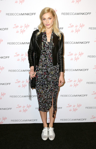 Jessica Stam Leather Jacket [clothing,fashion model,flooring,fashion,little black dress,dress,catwalk,outerwear,carpet,long hair,rebecca minkoff,jessica stam,see now buy now fashion show,la,california,the grove,buy now fashion show]