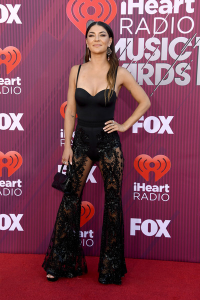 Jessica Szohr Leather Purse [red carpet,carpet,fashion,premiere,flooring,long hair,dress,thigh,event,style,arrivals,jessica szohr,iheartradio music awards,california,los angeles,microsoft theater,fox]