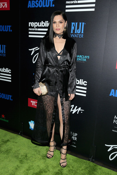 Jessie J Metallic Clutch [a celebration of music with republic records in partnership with absolut,music,flooring,fashion,carpet,fashion model,little black dress,red carpet,suit,tights,product,thigh,jessie j,pryma - red carpet,partnership,catch la,west hollywood,california,republic records,celebration]