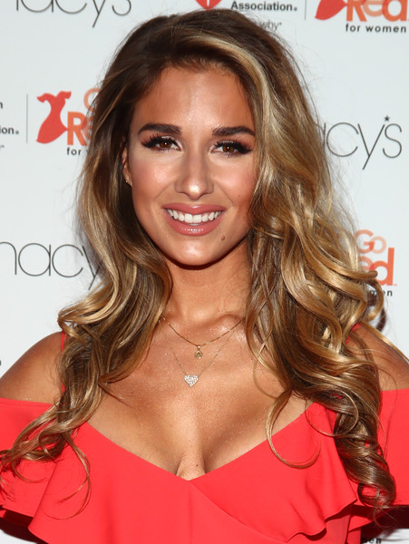 Jessie James Decker Long Curls [hair,hairstyle,blond,brown hair,long hair,eyebrow,chin,hair coloring,lip,layered hair,arrivals,jessie james decker,front row,new york city,hammerstein ballroom,macys,american heart associations go red for women red dress collection,american heart associations go red for women red dress collection 2017,fashion week]