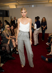 Devon Windsor looked summery in a white cami at the Jill Stuart fashion show.
