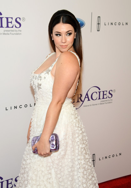Jillian Rose Reed Metallic Clutch [hair,clothing,fashion model,dress,shoulder,hairstyle,beauty,fashion,skin,gown,arrivals,jillian rose reed,beverly wilshire hotel,beverly hills,california,annual gracie awards]