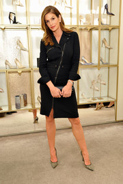 Cindy Crawford went for edgy elegance in this biker-chic LBD during a Delete Blood Cancer event.