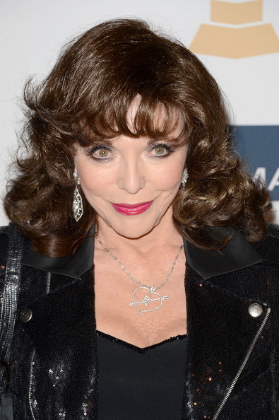 Joan Collins Heart Pendant [hair,hairstyle,face,lip,eyebrow,beauty,brown hair,chin,bangs,layered hair,clive davis,joan collins,antonio ``l.a. reid,salute to industry icons,the beverly hilton hotel,california,beverly hills,the recording academy,antonio ``l.a. reid - arrivals,2013 pre-grammy gala and salute to industry icons]